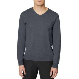 Hickey Freeman Gray V-Neck Cotton Pullover Sweater